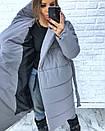 Женская зимняя удлиненная куртка-одеяло с капюшоном 3kr172, фото 2