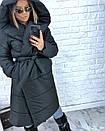 Женская зимняя удлиненная куртка-одеяло с капюшоном 3kr172, фото 5