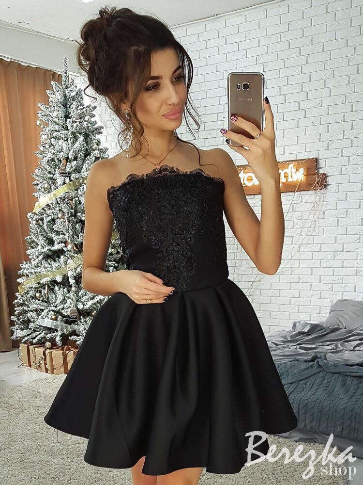 Платье с пышной юбкой и рукавом из сетки 66py2210