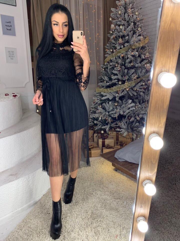 Платье с фатином и набивным кружевом 40py2231