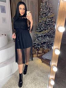 Платье с фатином и набивным кружевом r40py2231