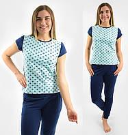 Пижама женская домашняя хлопковаякофта с брюками стрейч, бирюзовая