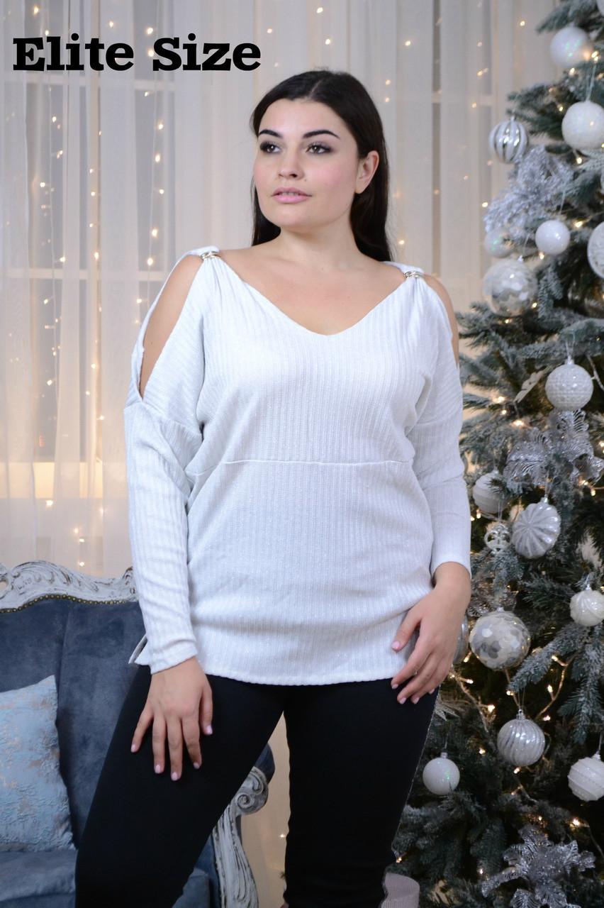 Женская кофта с разрезами на плечах в больших размерах 6ba1230