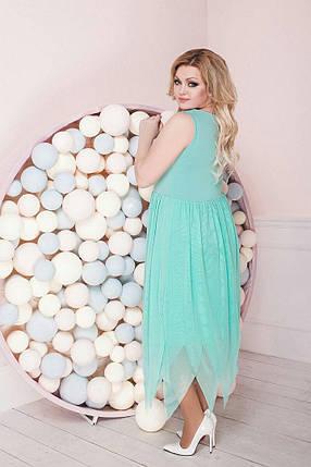 """Летнее комбинированное миди-платье """"DINKA"""" с юбкой из сетки (большие размеры), фото 2"""