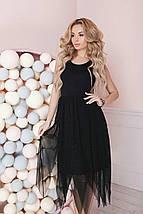 """Летнее комбинированное миди-платье """"DINKA"""" с юбкой из сетки (4 цвета), фото 2"""