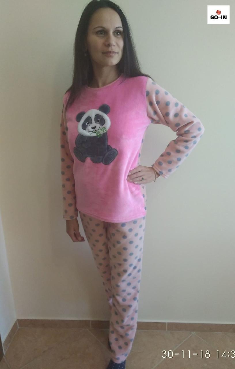 Пижам женская махровая теплая розовая 42-54 р.