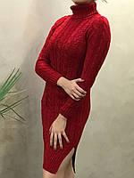 Женское вязаное платье - миди с карманами. S- L Размер., фото 1
