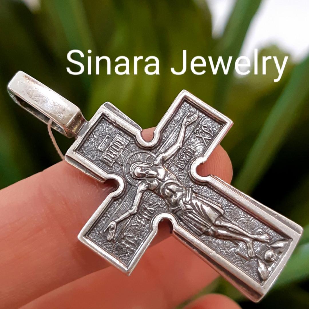 Серебряный крестик с иконками святых - Мужской серебряный крестик