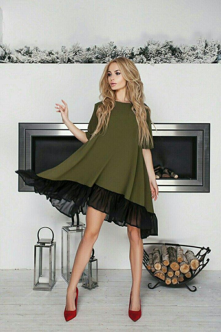 """Расклешенное асимметричное платье """"Alvena"""" с шифоновой оборкой (4 цвета)"""