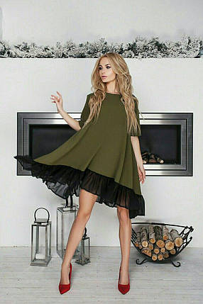 """Расклешенное асимметричное платье """"Alvena"""" с шифоновой оборкой (4 цвета), фото 2"""
