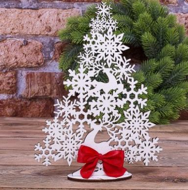Новогодний декор, Елочка ажурная из дерева