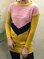 Жіночий в'язаний подовжений светр. S - L Розмір.