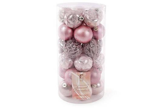 Набор елочных шаров , 6 см, 30 шт; цвет - розовый, 10 шт - перламутр с рельефом, 10 шт - матовый с рисунком из
