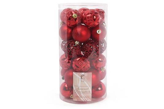 Набор елочных шаров 6см, цвет - красный, 30 шт 10 шт - глянец с рельефом, 10 шт - матовый с рисунком из глитер