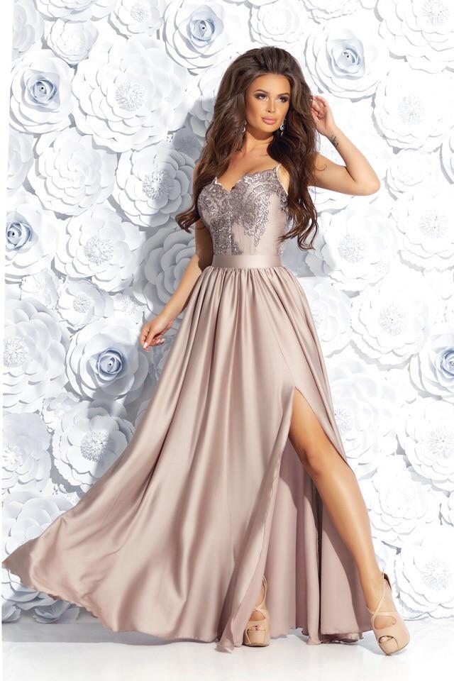 5a6511909c0 Роскошное вечернее длинное платье на бретельках верх из гипюра низ атласный  42