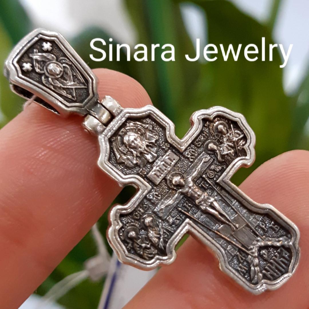 Серебряный крестик с иконками  святых и молитвой - Мужской серебряный крестик - Крестик серебро