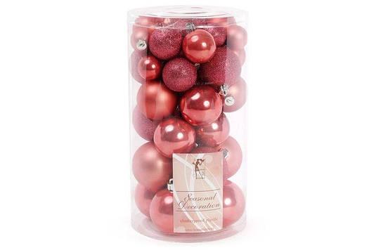 Набор елочных шаров, цвет - клубника, 40шт - 6см, 5см, 4см, 3см: 4шт - перламутр, 3шт - глитер, 3шт