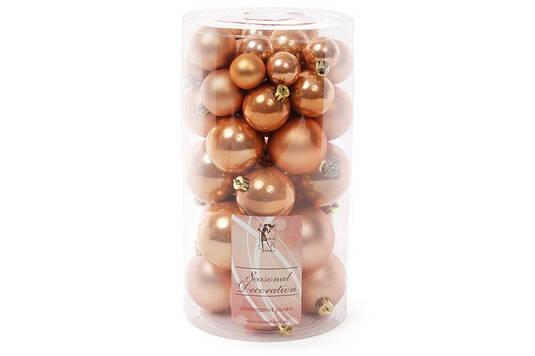 Набор елочных шаров, цвет - медный, 40 шт - 6см, 5см, 4см, 3см: 5 шт - перламутр, 5 шт - матовый для каждого р