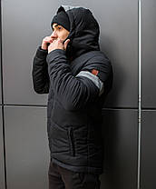 "Мужская фирменная куртка Pobedov Winter Jacket ""Vernyy put'"" Black (grey inset), фото 2"