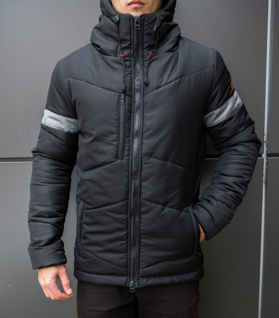 "Мужская фирменная куртка Pobedov Winter Jacket ""Vernyy put'"" Black (grey inset)"
