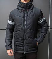 "Мужская фирменная куртка Pobedov Winter Jacket ""Vernyy put'"" Black (grey inset)"