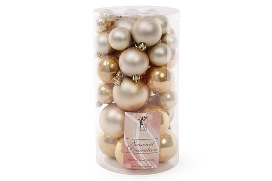 Набор елочных шаров, цвет - светлое золото, 40шт - 6см, 5см ,4см, 3см: 5шт- матовый, 5шт - перламутр