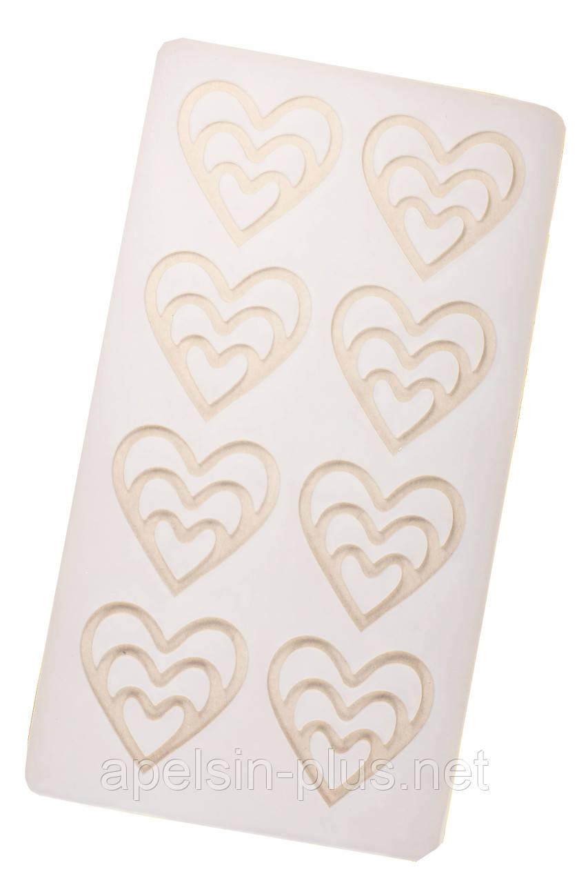 """Молд для шоколада и изомальта """"Сердечки фигурные"""" 8 фигур 5,0 см 5,0 см"""