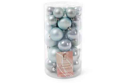 Набор елочных шаров, цвет - голубой, 40 шт - 6см, 5см, 4см, 3см: 5 шт - мат, 5 шт - перламутр для ка