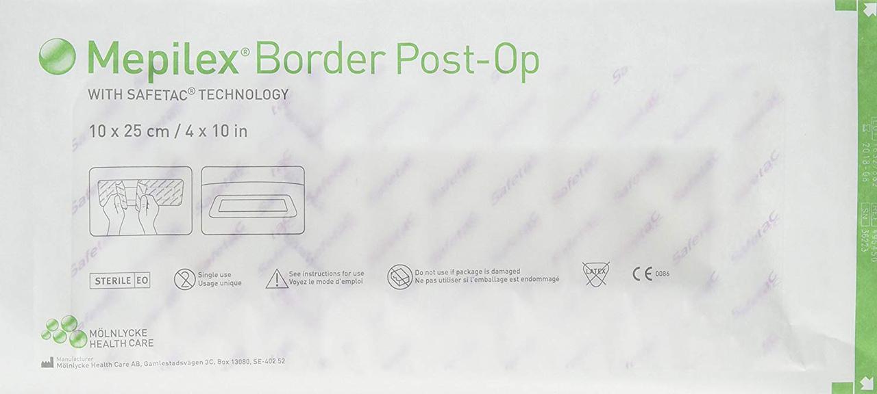 Mepilex Border Post-Op 10х20см самоклеющаяся послеоперационная повязка