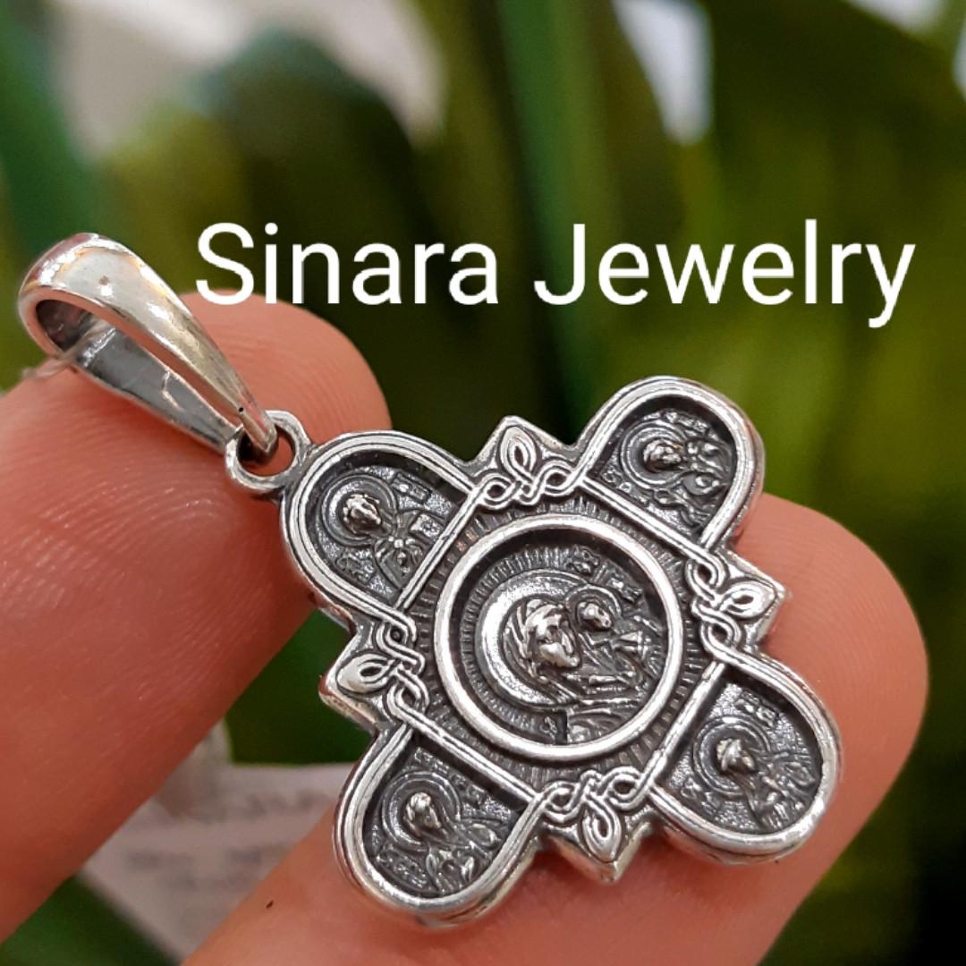 Федоровский серебряный крестик с распятием и иконками Святых