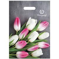 Полиэтиленовый пакет с прорезной ручкой ''Тюльпаны'' 220*300, 10 шт