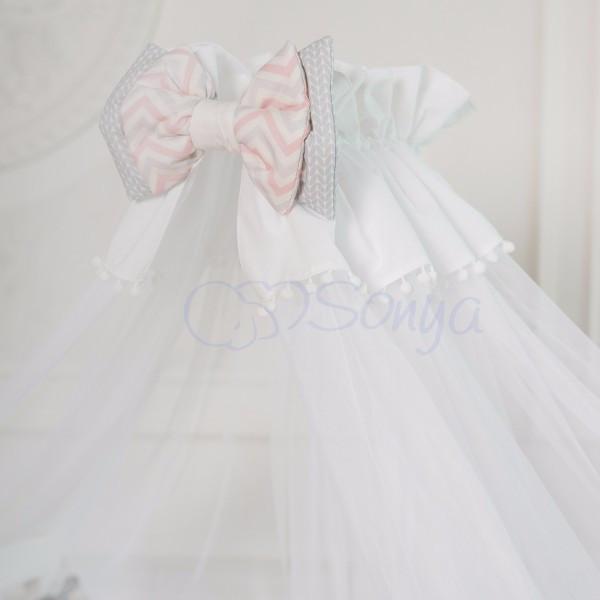 Балдахин Mi-mi белый с розовым