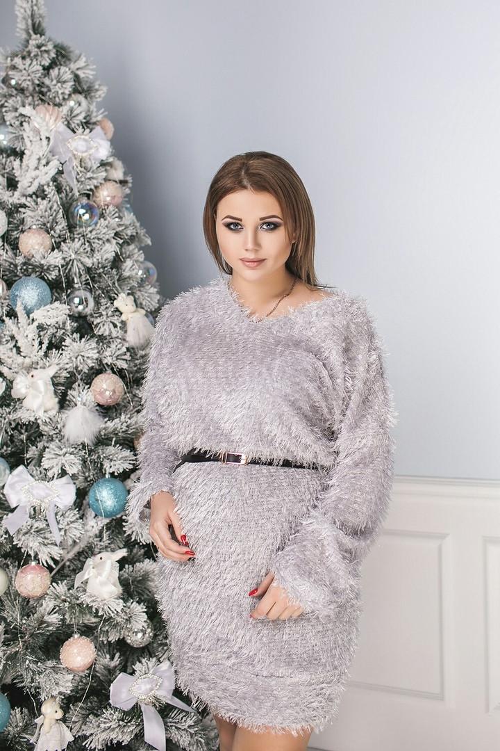 """Короткое трикотажное платье-свитер """"ТРАВКА"""" с люрексом (большие размеры)"""