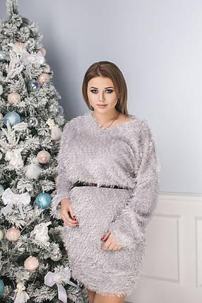 """Короткое трикотажное платье-свитер """"ТРАВКА"""" с люрексом (большие размеры), фото 2"""