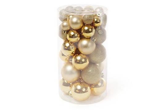 Набор елочных шаров, цвет - яркое золото, 40шт - 6см, 5см ,4см, 3см 4шт - глянец, 3шт - матовый, 3шт - глитер