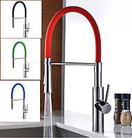 Смеситель кухонный SANTEP 12345 (в разных цветах) с силиконовым изливом