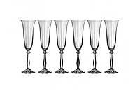 Angela Набор бокалов для шампанского 6 штук 190мл d6,7 см h25 см богемское стекло Bohemia