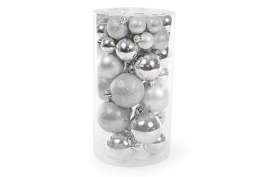 Набор елочных шаров, цвет - серебро, 40 шт - 6см, 5см ,4см ,3см: 4 шт - глянец, 3 шт - мат, 3 шт - г