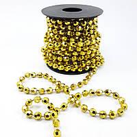 Ленточные новогодние бусы граненые золото, фото 1
