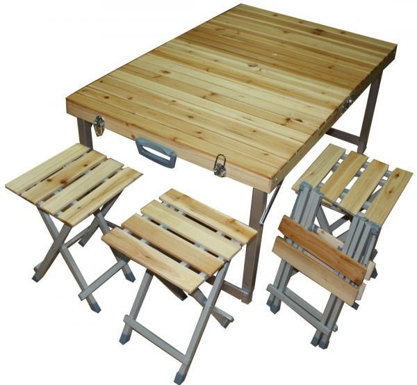 Стол для пикника + 4 стула  дерево алюминиевый раскладной стол
