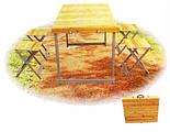 Стол для пикника + 4 стула  дерево алюминиевый раскладной стол, фото 2