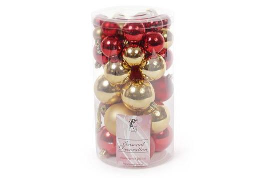 Набор елочных шаров, цвет - золото с красным, 40шт - 6см, 5см ,4см, 3см: 3шт - красный глянец, 3шт -