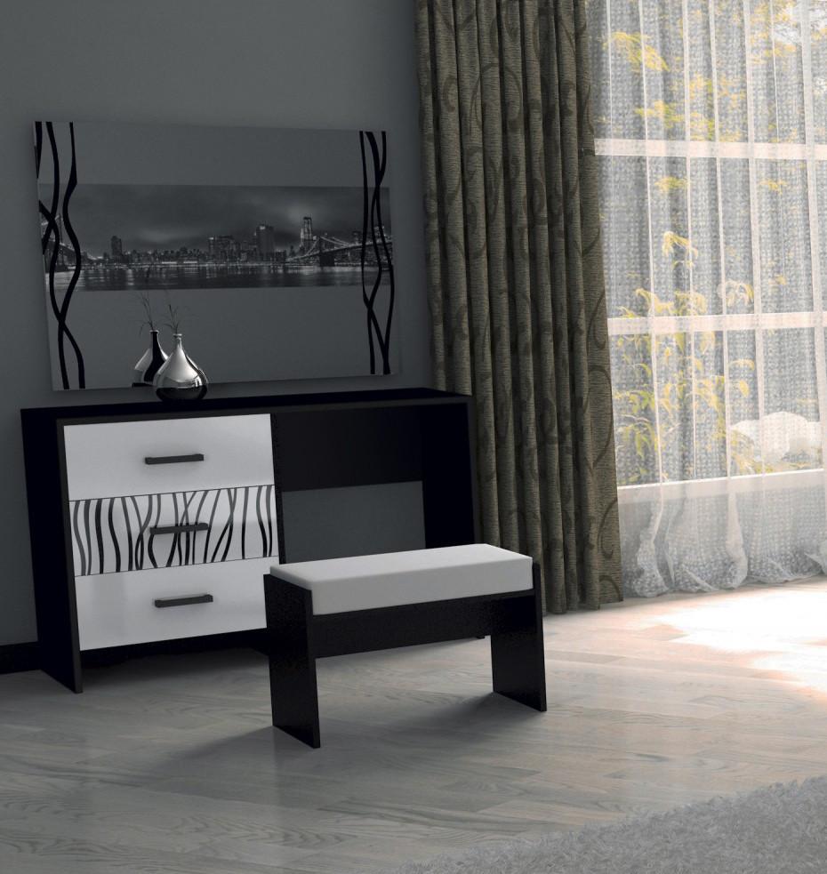 """Туалетний столик """"Терра""""  від Миро-Марк (глянець білий ,чорний мат)."""