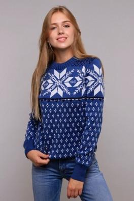 Теплый свитер женский снежинки (джинсовый) 13215