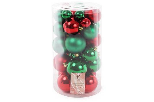 Набор елочных шаров Рождественский, цвет - красный с зеленым, 40 шт - 6см, 5см ,4см, 3см 3шт - красный глянец,