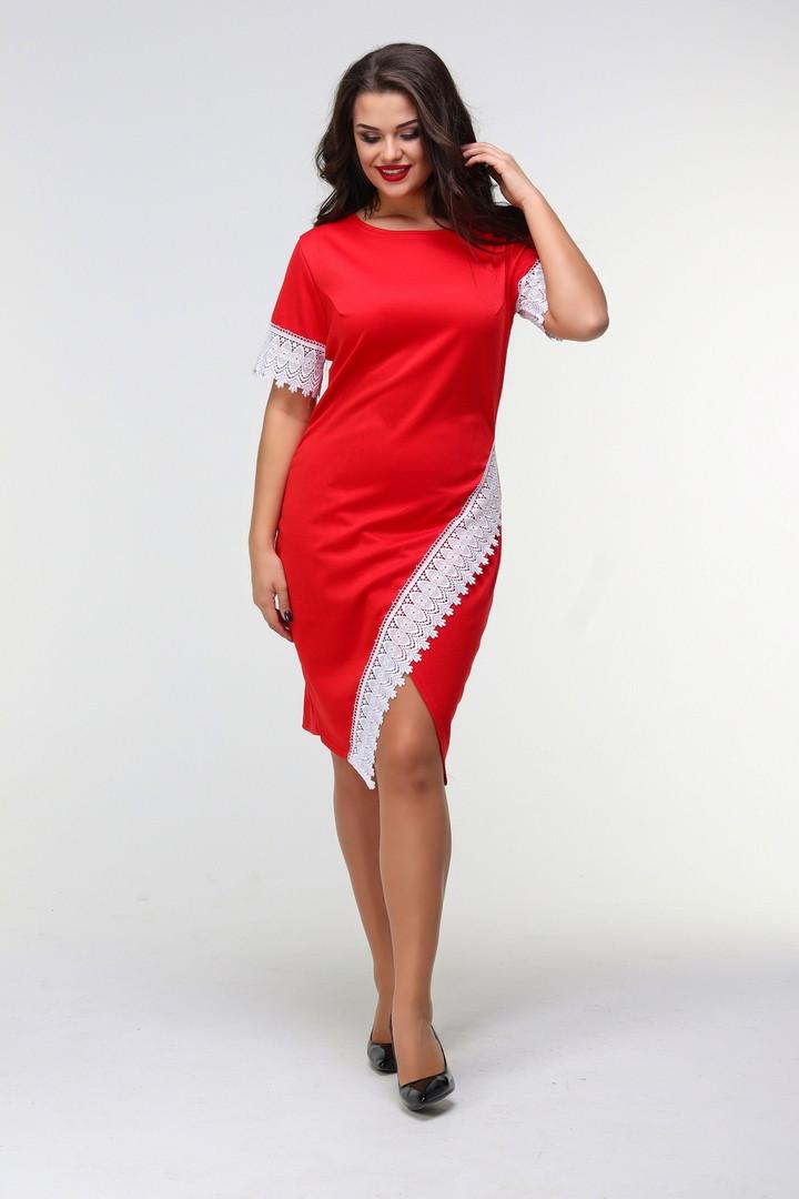 8da776cbfaa Женское силуэтное платье из французского трикотажа с декором из кружева  48-50