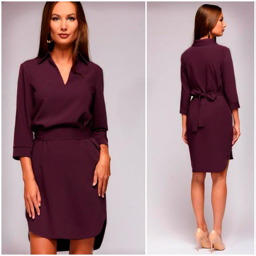 Платье-рубашка цвета марсала Gven (Код MF-412)