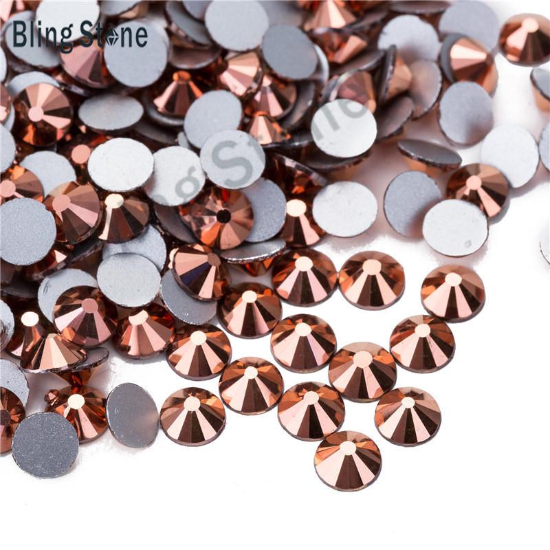 Стразы стекло! ss6  цвет -розовое золото , 100шт