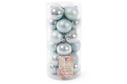 Набор елочных шаров, 6см, 24шт; цвет - голубой, 12шт - перламутр, по 6шт - глитер, матовый BonaDi