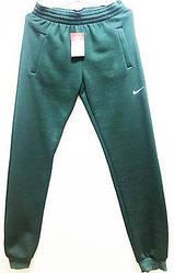 Спортивные штаны  трикотаж  зеленые  с начесом NK-298 52